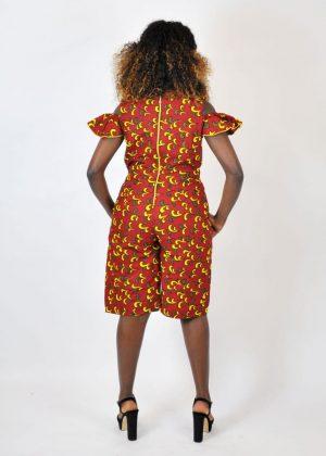 Orange African Print Cold Shoulder Jumpsuit Image of Cold Shoulder Sleeve Image of Back