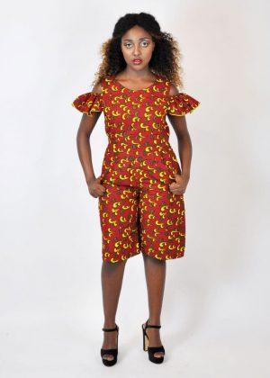 Orange African Print Cold Shoulder Jumpsuit