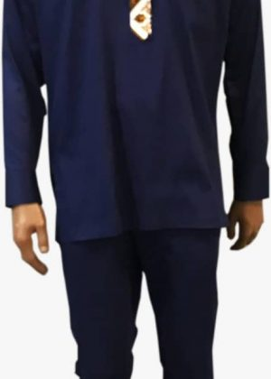 African Men Navy Blue Ankara Suit For All Occasion close