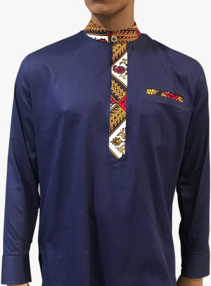 African Men Navy Blue Ankara Suit For All Occasion
