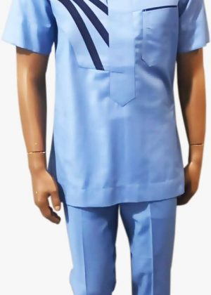 Full frontal of mannequin wearing a blue short sleeve men's African suit with a navy blue stripe pattern on right of chest.