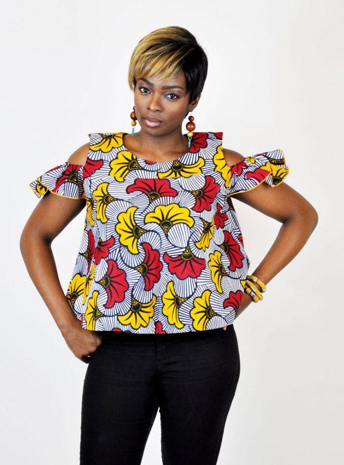 African Floral Print Cold Shoulder Flare Top