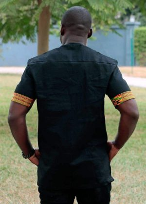 African Print Kente Fusion Shirt Back Image