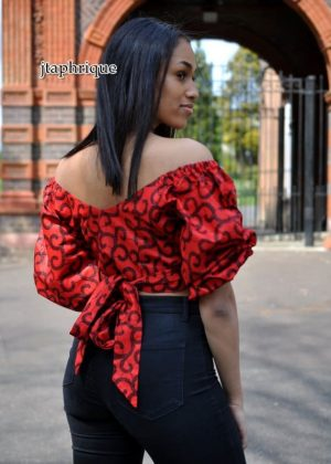 Red & Black African Print Wrap Top Product Image