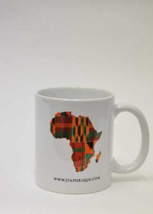 A Mug With African Map Shape Kente Print Design