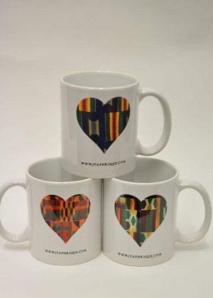 African Print Love Shape Design Print Mug