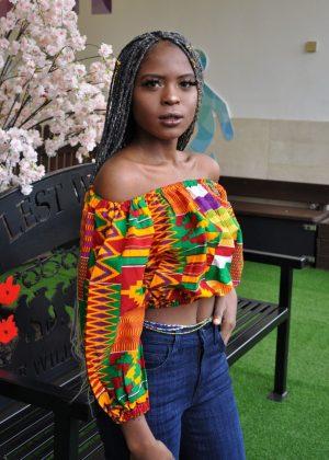 Kente African Print Off Shoulder Crop Top - Image of Side