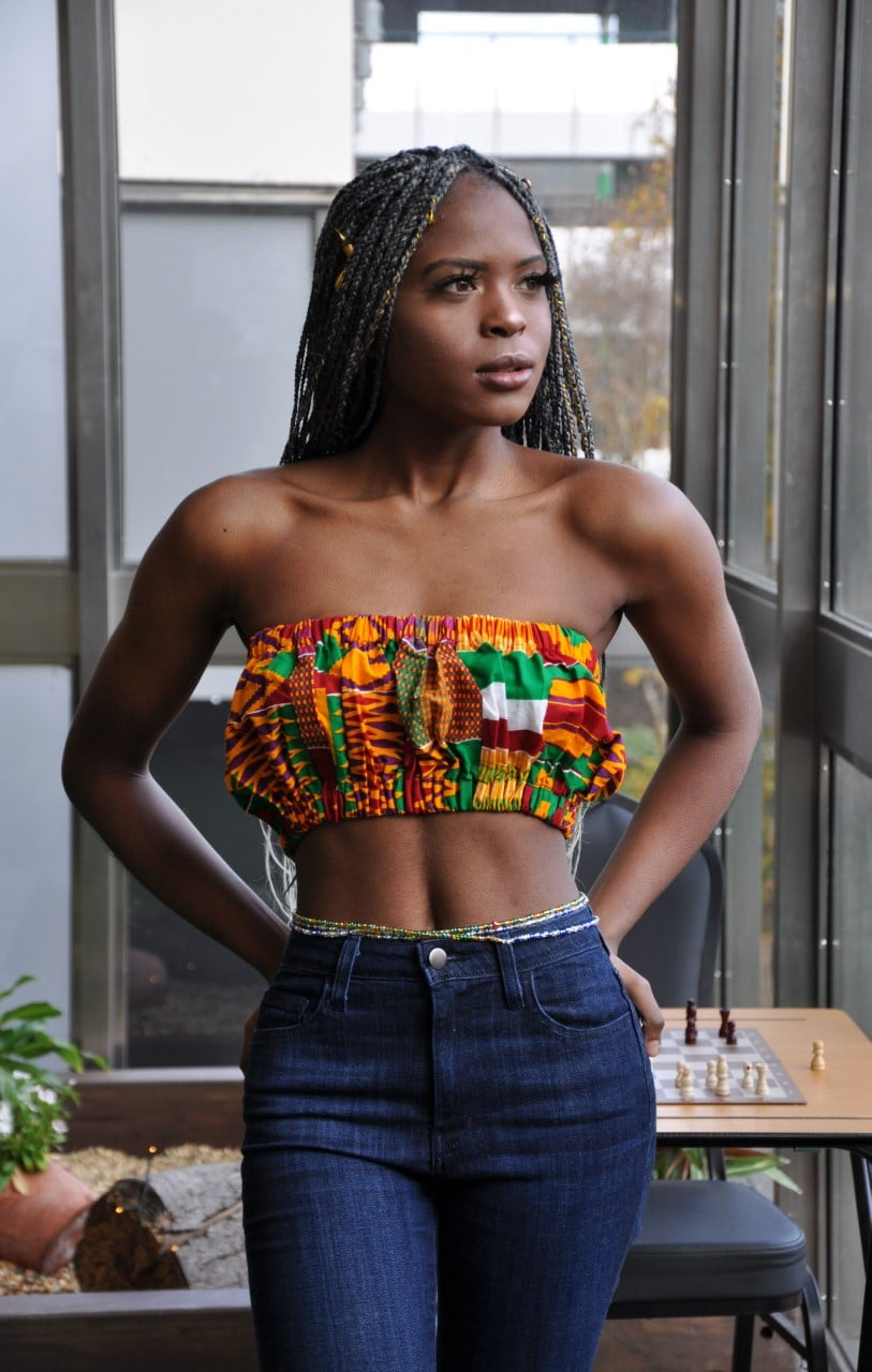 Orange Kente African Print Bandeau Crop Top - Image of Front