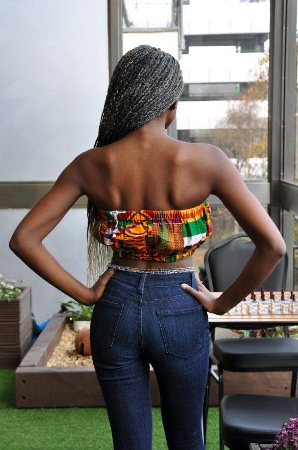Orange Kente African Print Bandeau Crop Top - Back Image