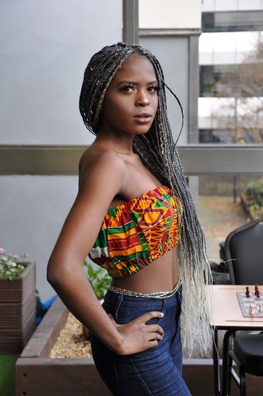 Orange Kente African Print Bandeau Crop Top - Side Image