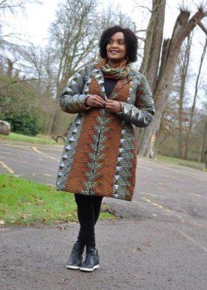 Brown & Cream Ankara African Print Quilted Coat