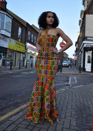 Kente Fusion Silhouette Occasion Dress