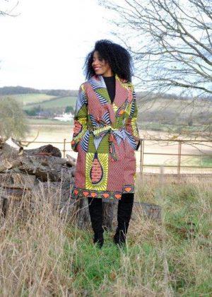 African Print Patchwork Trench / Kimono Coat