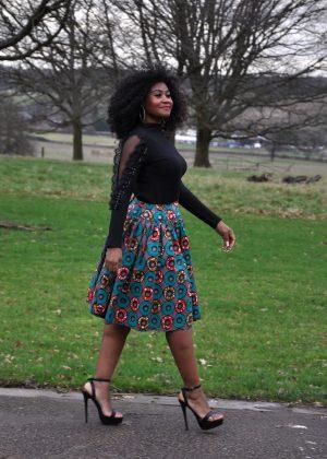 Multi-Coloured African Print Skater Skirt Side Image