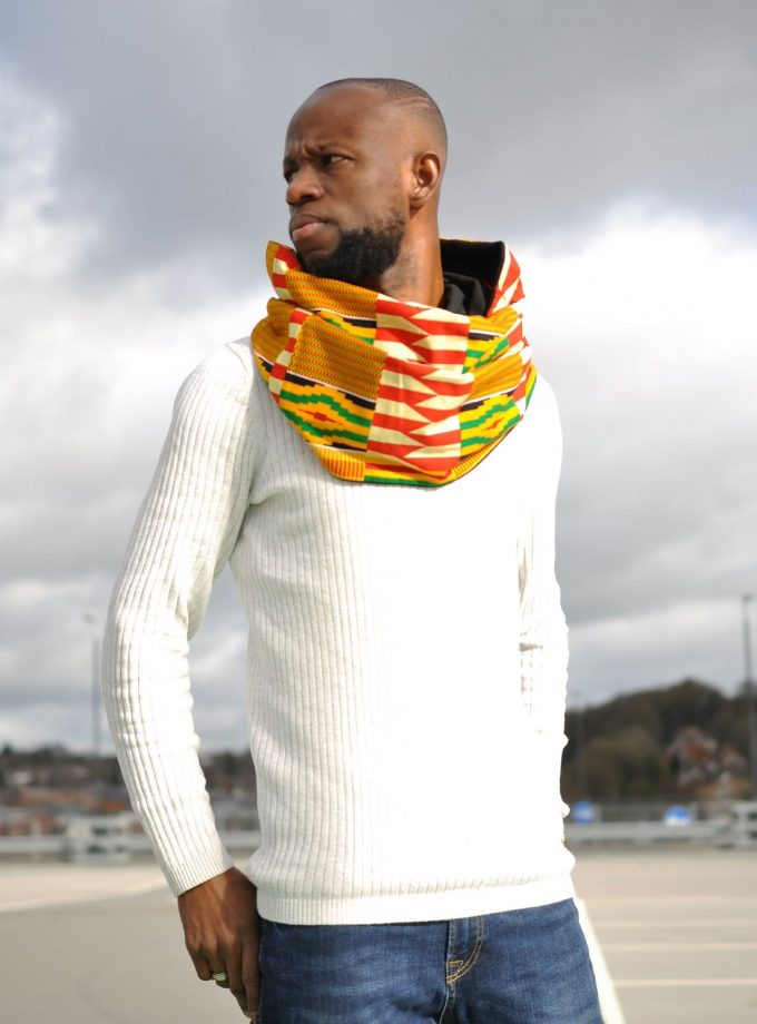 Unisex Kente Print Infinity Neck Scarf With button Fastening