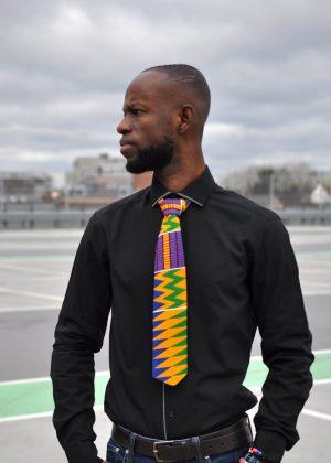 Ankara & Kente African Print Tie & Pocket Handkerchief Set
