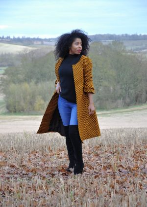 Chic Mustard African Print Collarless A-line Trench Coat