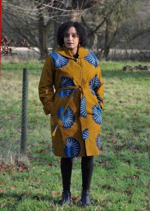 Mustard Ankara African Print Trench / Kimono Coat