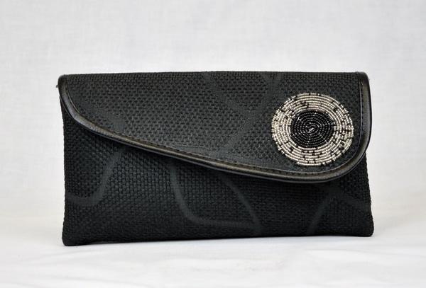 Kenyan Masai Black Beaded Clutch Bag