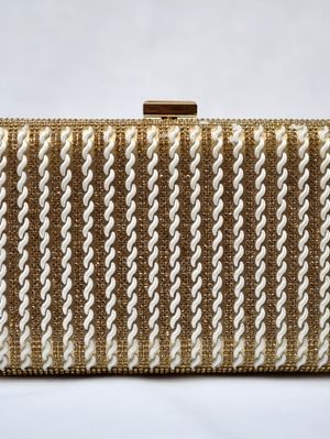 Gold Beaded Striped Crystal Evening Clutch Bag