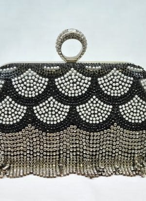 Black & Silver Beaded Crystal Evening Clutch Bag