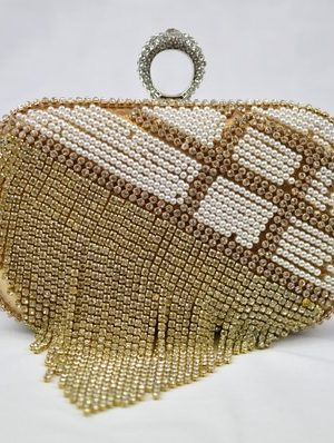 Gold Beaded Crystal Evening Clutch Bag
