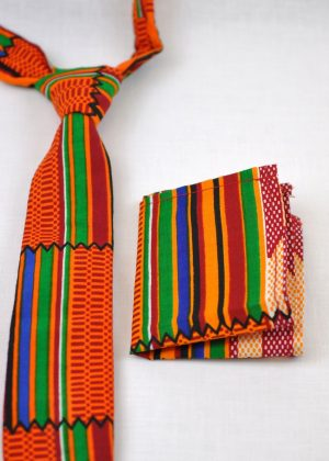 Multicoloured Kente African Print Tie & Pocket Handkerchief Set