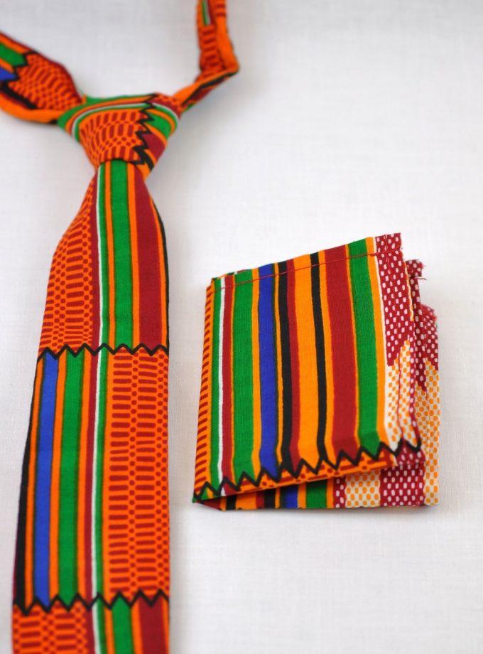 Multicoloured Kente African Print Tie & Pocket Handkerchief Set