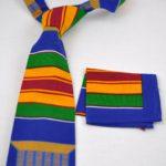 Multicoloured Kente African Print Tie & Pocket Handkerchief