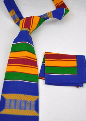 Multicoloured Kente African Print Tie & Pocket Handkerchief
