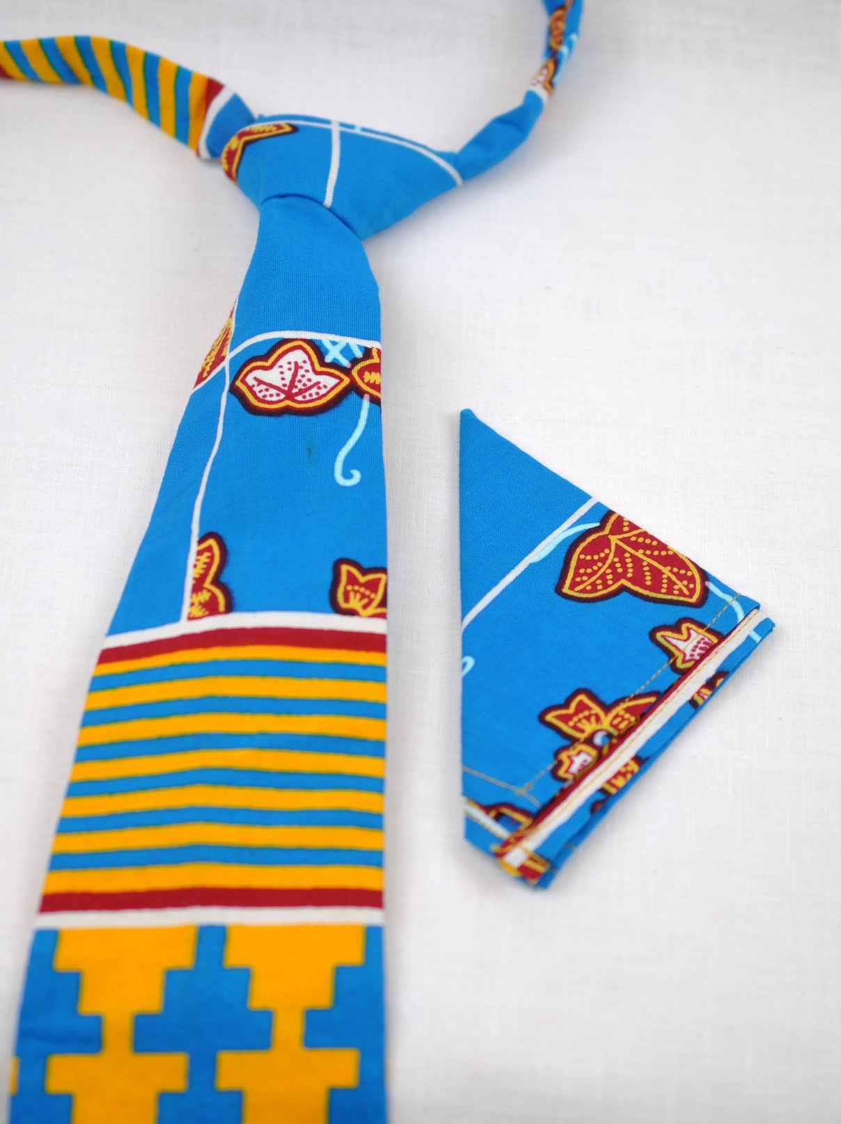 Multicoloured African Print Tie & Pocket Handkerchief Set