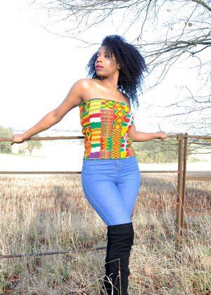 Kente African Print Bandeau Tube Top - Image of vibrant Kente print