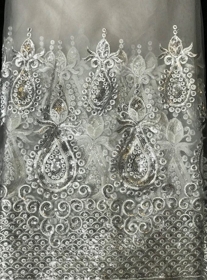 White & Silver Nigerian Tulle French Lace