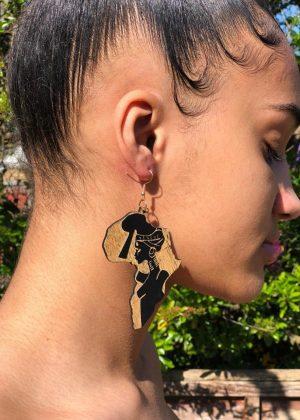 African Shaped Wooden Earrings