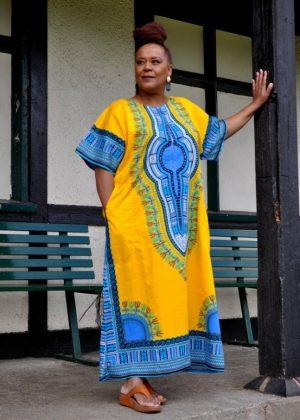 Yellow Dashiki Kaftan Zip Front Maxi Dress