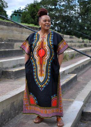 Black Dashiki Kaftan Zip Front Maxi Dress