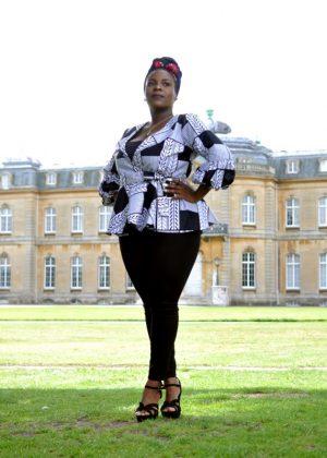 White & Black African Print Peplum Wrap Top - Front Image