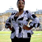 White & Black African Print Peplum Wrap Top