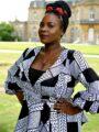 White & Black African Print Peplum Wrap Top - Close Front Image
