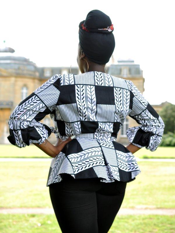 White & Black African Print Peplum Wrap Top - Back Image