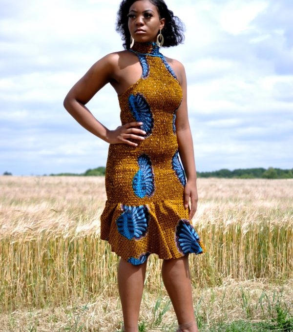 African Print Halter Bodycon Midi Dress