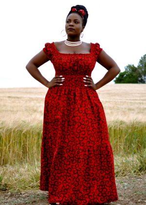 Red Ankara Maxi Cup Sleeve Full Length Dress