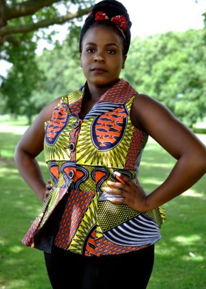 Sleeveless African Print Peplum Top