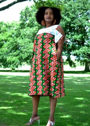 Ankara Print & White Lace Summer Dress