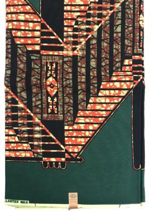 Green & Orange Super Hollantex Wax African Print Ankara Fabric 6 yards - 2nd image