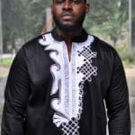 White And Black Long Sleeve African Men's Polished Cotton Shirt