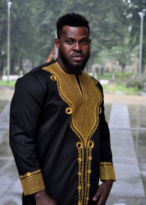 African Men's Long Sleeve Gold embroidery Polished Cotton Shirt