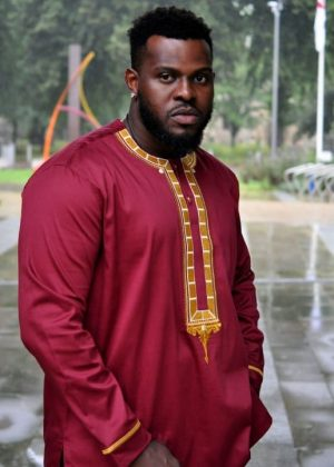 Long Sleeve Maroon Embroidery African Men's Polished Cotton Shirt