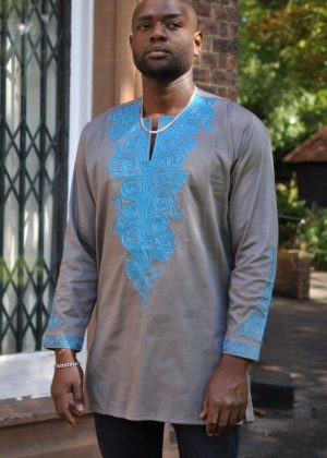 Mens Grey polished cotton Shirt with Turquoise blue embroidery and long sleeves