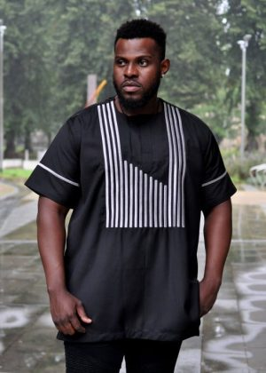 Short Sleeve Black Striped African Silver Embroidery Men Polished Cotton Shirt